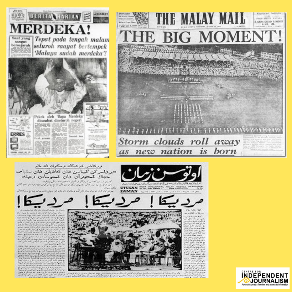 Today we'll be looking at the coverage of Merdeka, or Malaya's independence (Malaysia would be formed later on).  In this image, we have Berita Harian (i.e. the Straits Times' Malay-language arm), the Malay Mail and Utusan.  #MemoriMediaMerdeka